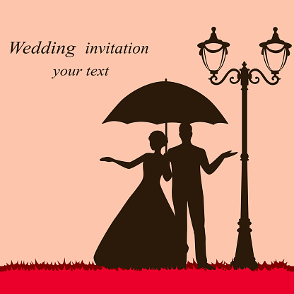 Bride and groom. Wedding card with the newlyweds with an umbrella.