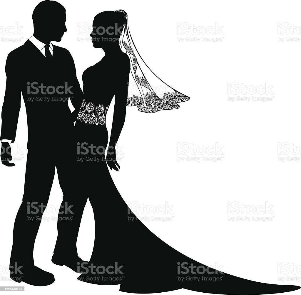 Bride and groom wedding couple silhouette royalty-free bride and groom wedding couple silhouette stock vector art & more images of abstract