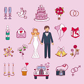 Bride and groom wedding couple marriage nuptial vector icons design. Ceremony celebration or people folk icons. Beauty portrait family.