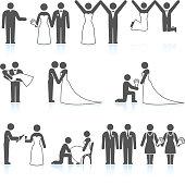 Bride and Groom Wedding Day black & white icon set