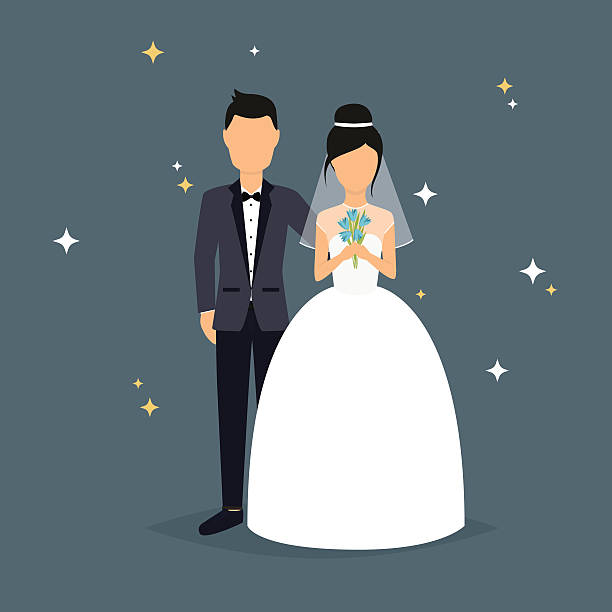 Bride and groom. Wedding design over grey background. V Bride and groom. Wedding design over grey background. Vector illustration. bridegroom stock illustrations