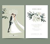 istock Bride and groom, wedding invitation card design 1251116246