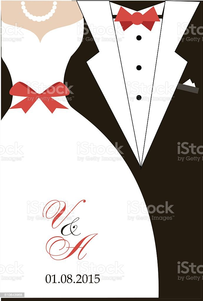 Bride And Groom Wedding Invitation Stock Vector Art & More Images of ...