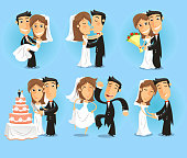Bride and groom Wedding Party vector illustration.