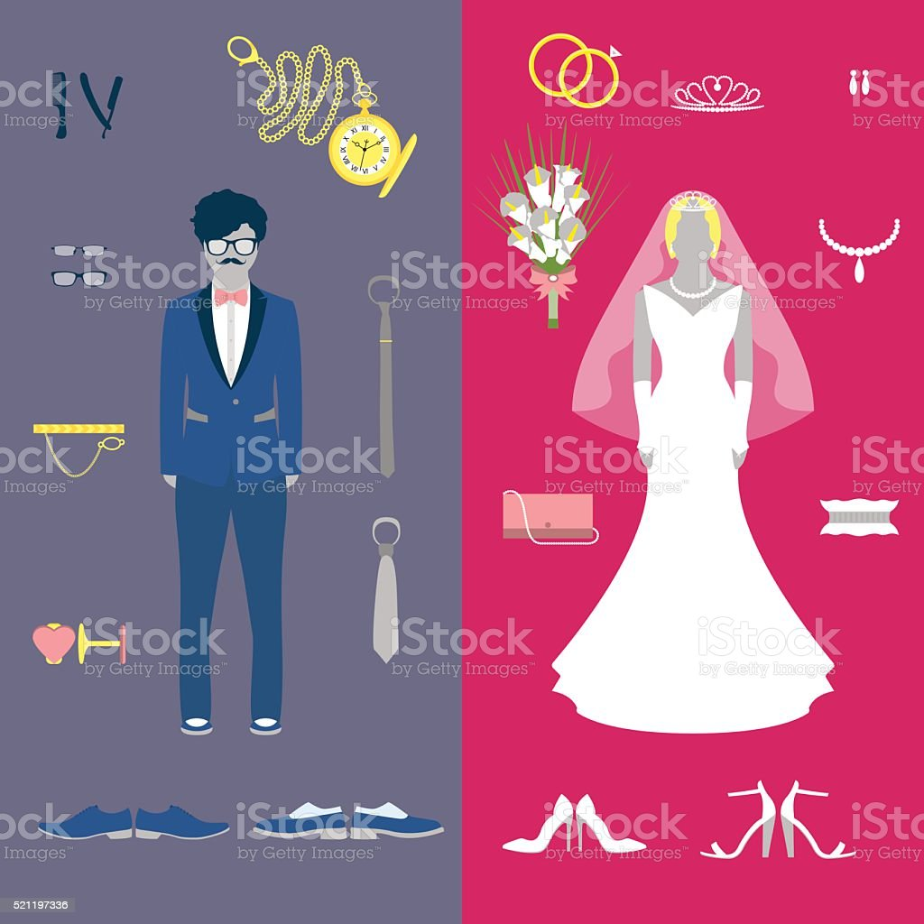 Bride and groom wedding set vector art illustration