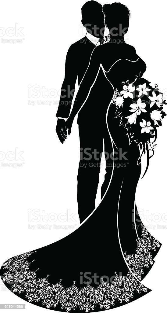 Bride and groom wedding silhouette stock vector art 618044588 istock bride and groom wedding silhouette royalty free stock vector art junglespirit Choice Image