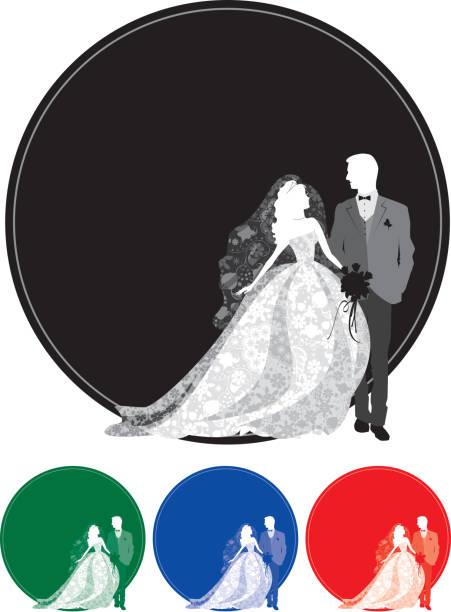 braut und bräutigam silhouette ganzen körper - perlenstrauß stock-grafiken, -clipart, -cartoons und -symbole