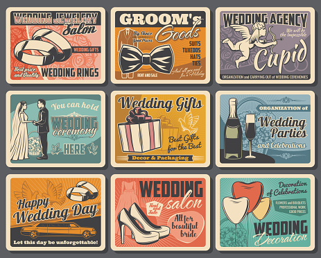 Bride and groom with rings, gifts and bouquets