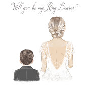 istock Bride and Ring Bearer. Hand drawn illustration 1319513198