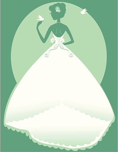 Bride Back The silhouette of the back of a bride showing off her beautiful corset back and bustle. She is holding a bouquet in front and playing with the doves flying around her. The colors are easily changed in photoshop and the dress makes a perfect place for putting text. heyheydesigns stock illustrations