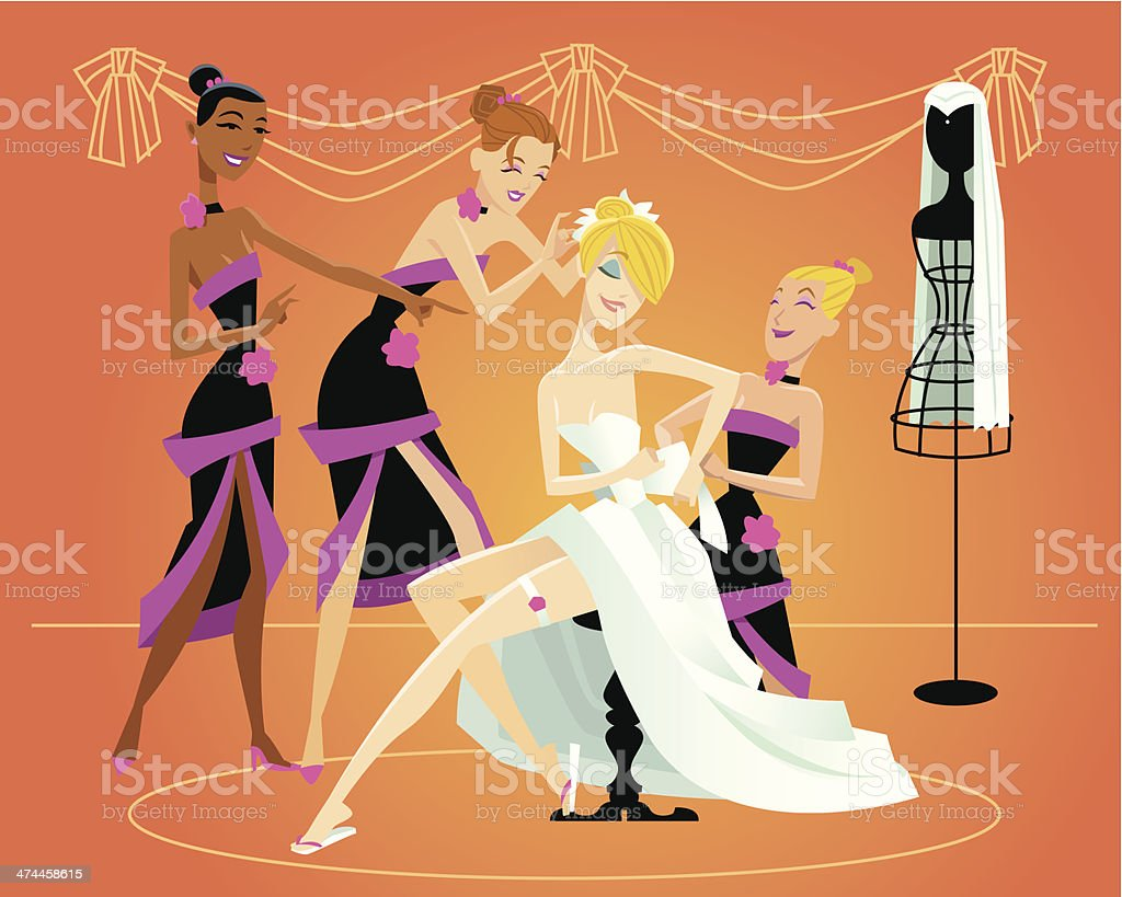 Bride Bridesmaids C vector art illustration