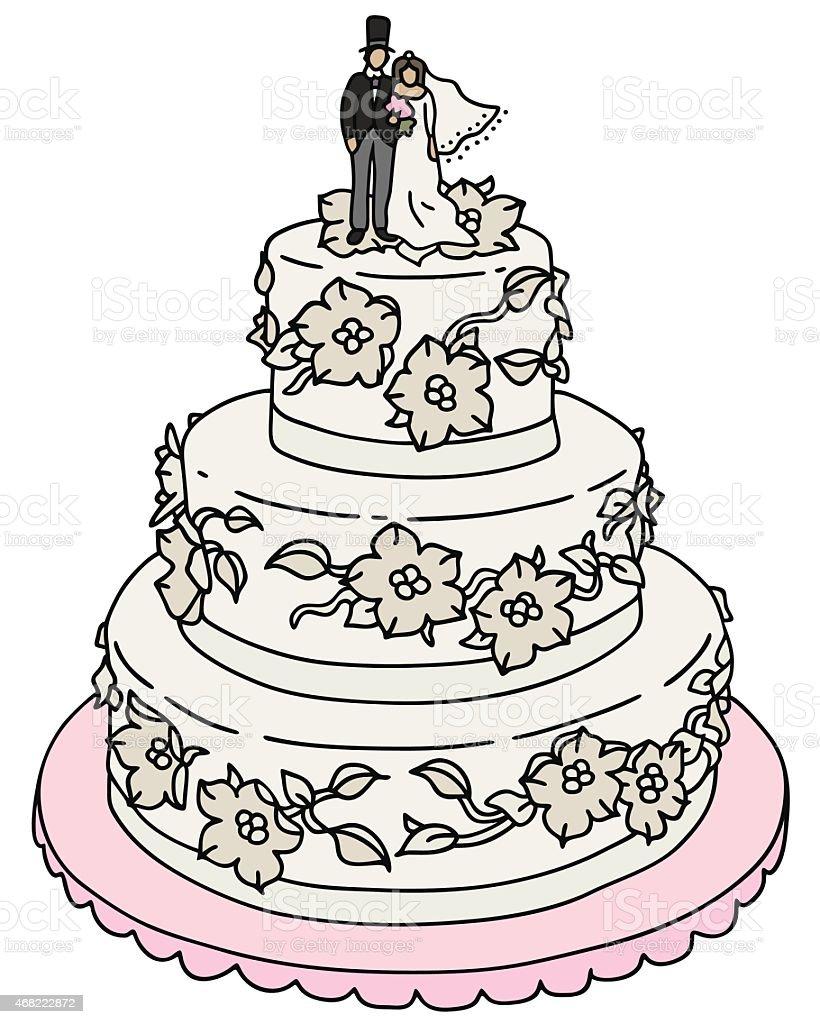 Bolo de noiva - ilustração de arte em vetor