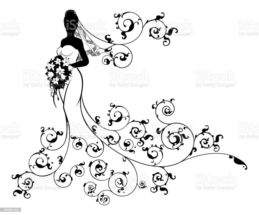 Bride Flowers Silhouette Wedding Design vector art illustration