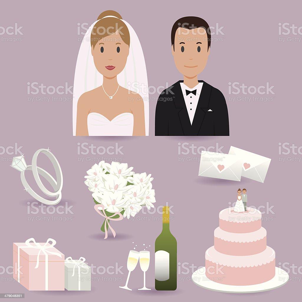 Noiva, o noivo e os elementos de casamento - ilustração de arte em vetor