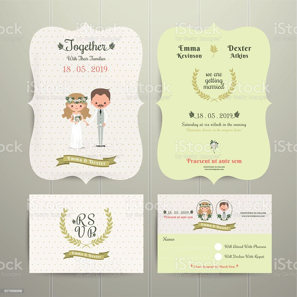 Bride Groom Cartoon Romantic Farm Wedding Invitation Card Stock