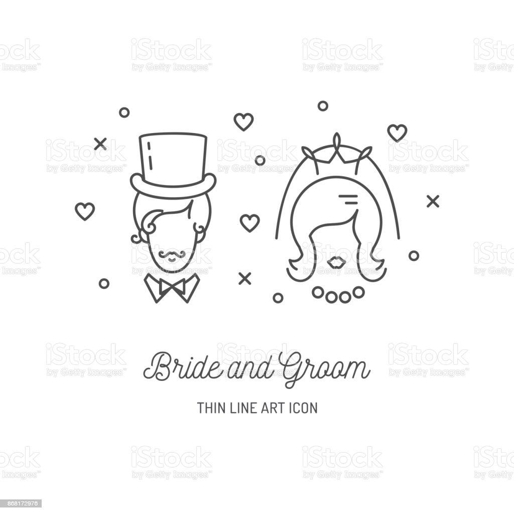Braut Brautigam Symbole Hochzeit Paar Zeichen Liebe Linie