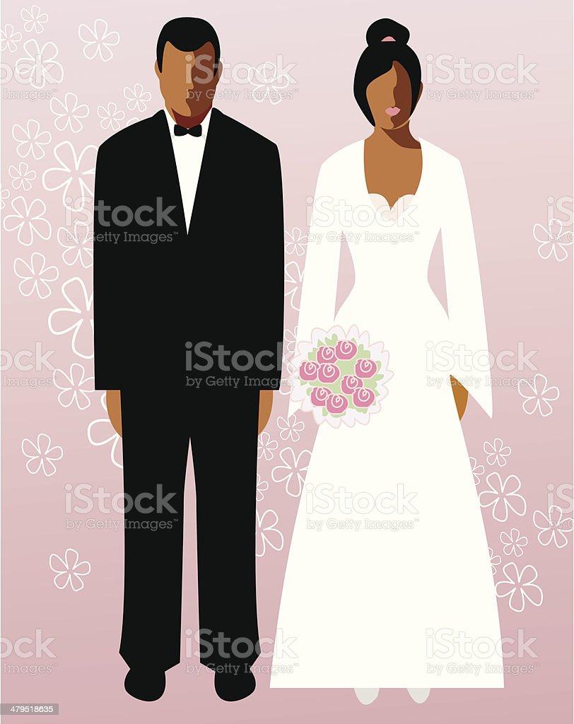 Bride & groom (vector & jpg) vector art illustration