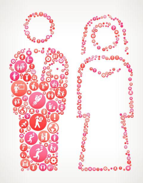 bräutigam die braut & weibliche frauenförderung icons vektor hintergrund - laufführer stock-grafiken, -clipart, -cartoons und -symbole