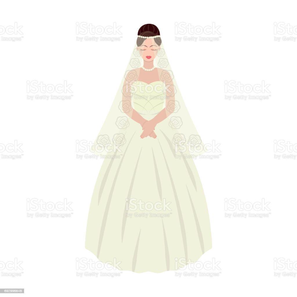 Braut In Einem Wunderschönen Brautkleid Hochzeiteinzelnes Symbol Im ...