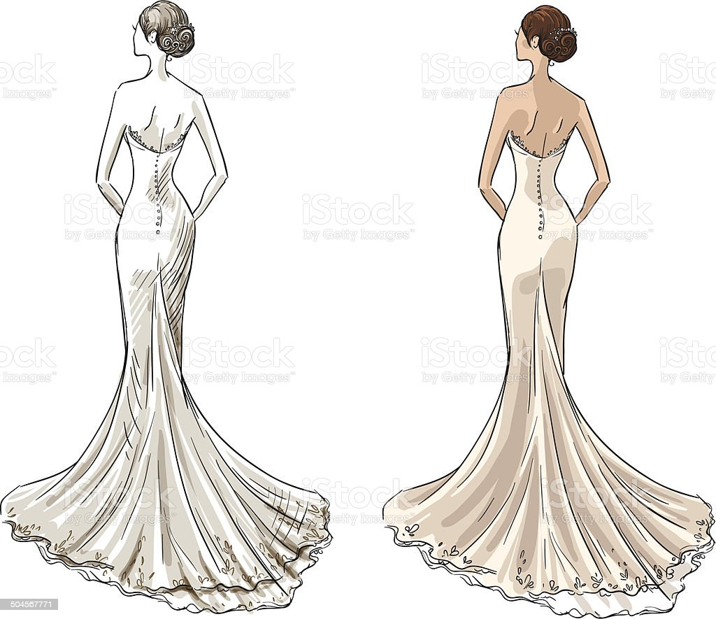 Bride in a long wedding dress stock vector art more Wedding dress illustration