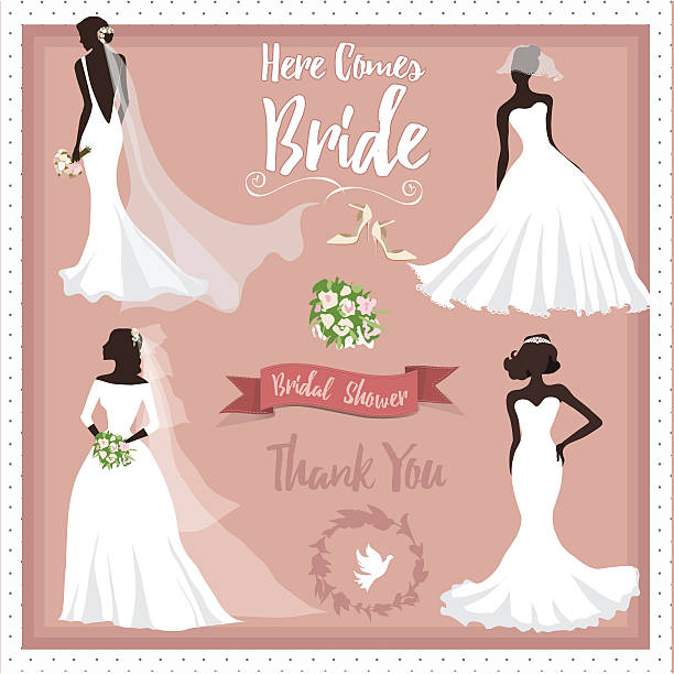 stockillustraties, clipart, cartoons en iconen met bride in different wedding dress - bruid