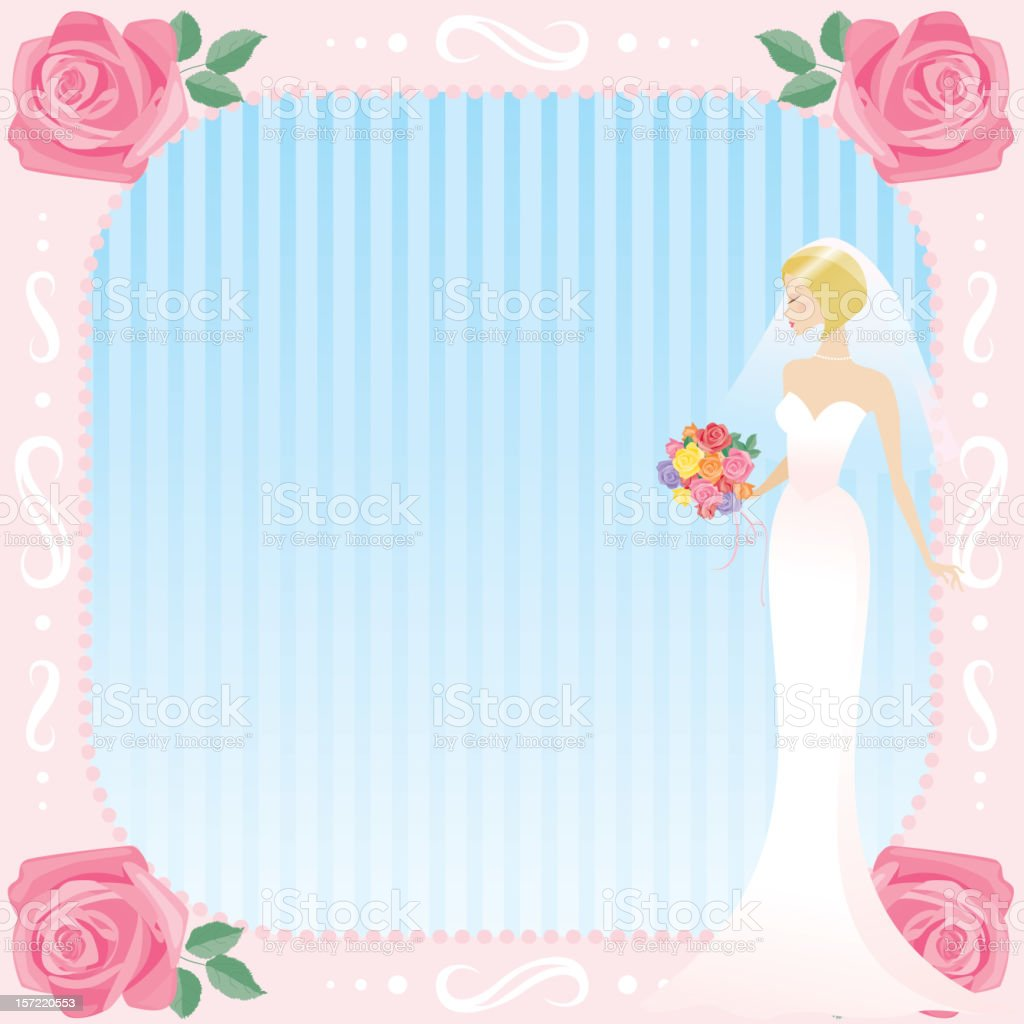 Bride in Pink Frame royalty-free stock vector art