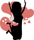 Silhouette of a bride with pink heart shapes in the background