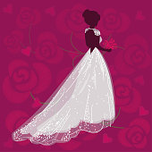 Bride in wedding dress. Holiday. Background of roses.