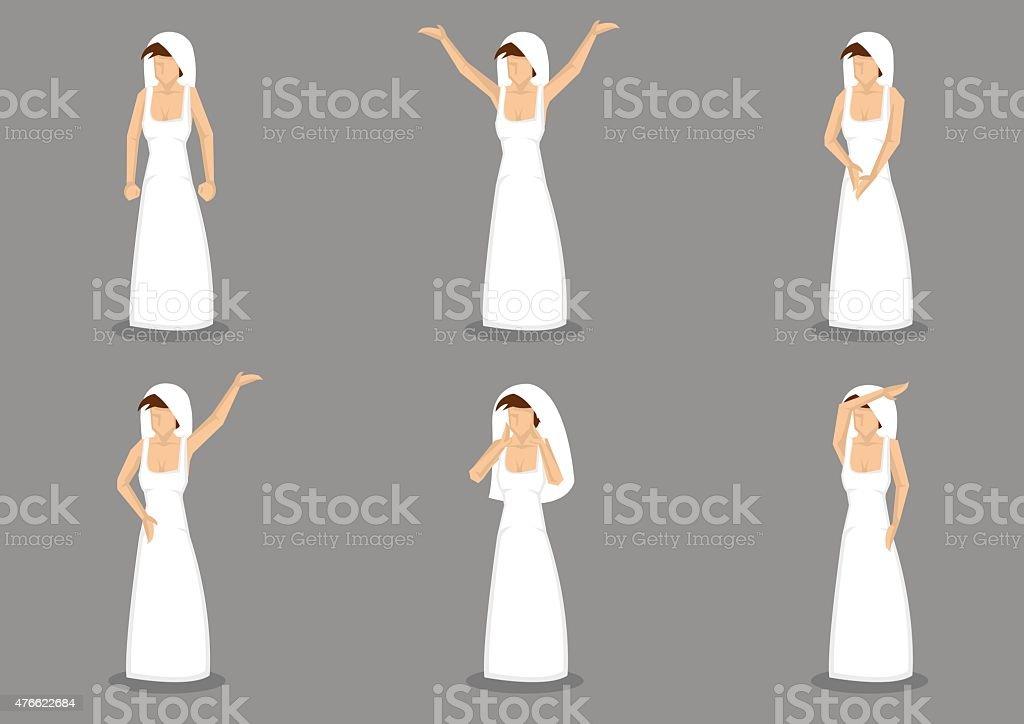 Noiva em um vestido de casamento de vetor ilustração Cartoon - ilustração de arte em vetor