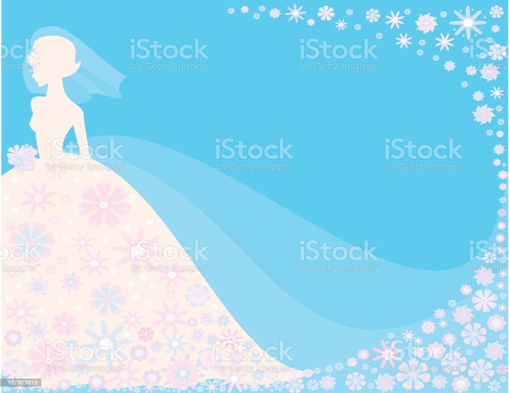 Bride on Blue Background royalty-free stock vector art