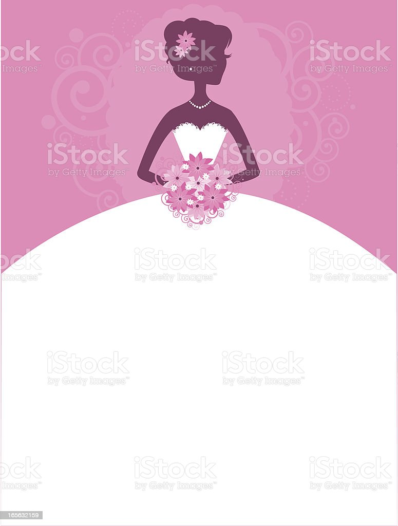 Bride Pretty in Pink vector art illustration