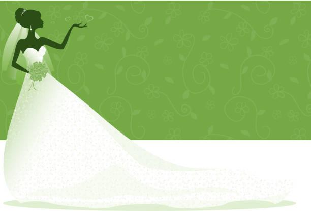braut-silhouette in der grünen zone - rosenhochzeitskleider stock-grafiken, -clipart, -cartoons und -symbole