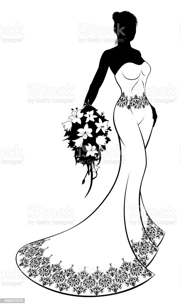 Bride Silhouette In Wedding Dress Stock Vector Art & More Images of ...