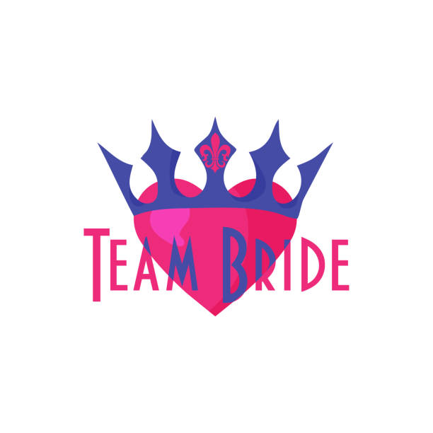 bride team trendy vecor sign. great for bridesmaids team, wedding, bachelorette or hen party, bride shower. - bachelorette party stock illustrations, clip art, cartoons, & icons