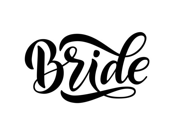 bride team word calligraphy fun design. lettering text vector illustration for bachelorette party - alphabet clipart stock illustrations