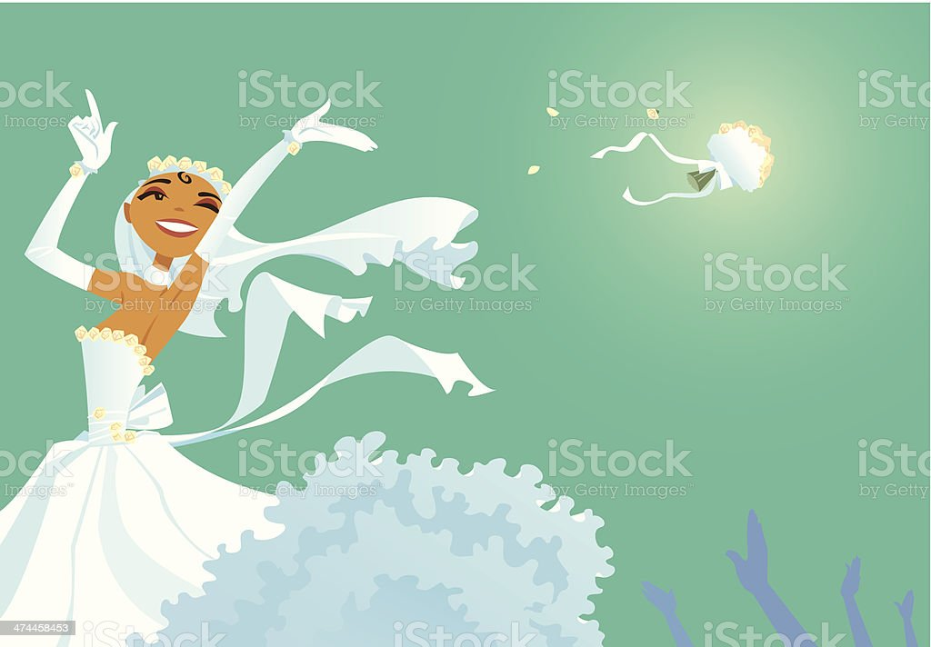 Bride Throwing Bouquet C vector art illustration