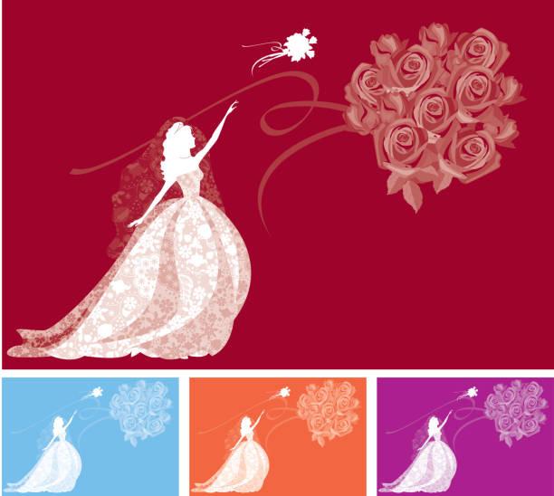braut werfen strauß silhouette - rosenhochzeitskleider stock-grafiken, -clipart, -cartoons und -symbole
