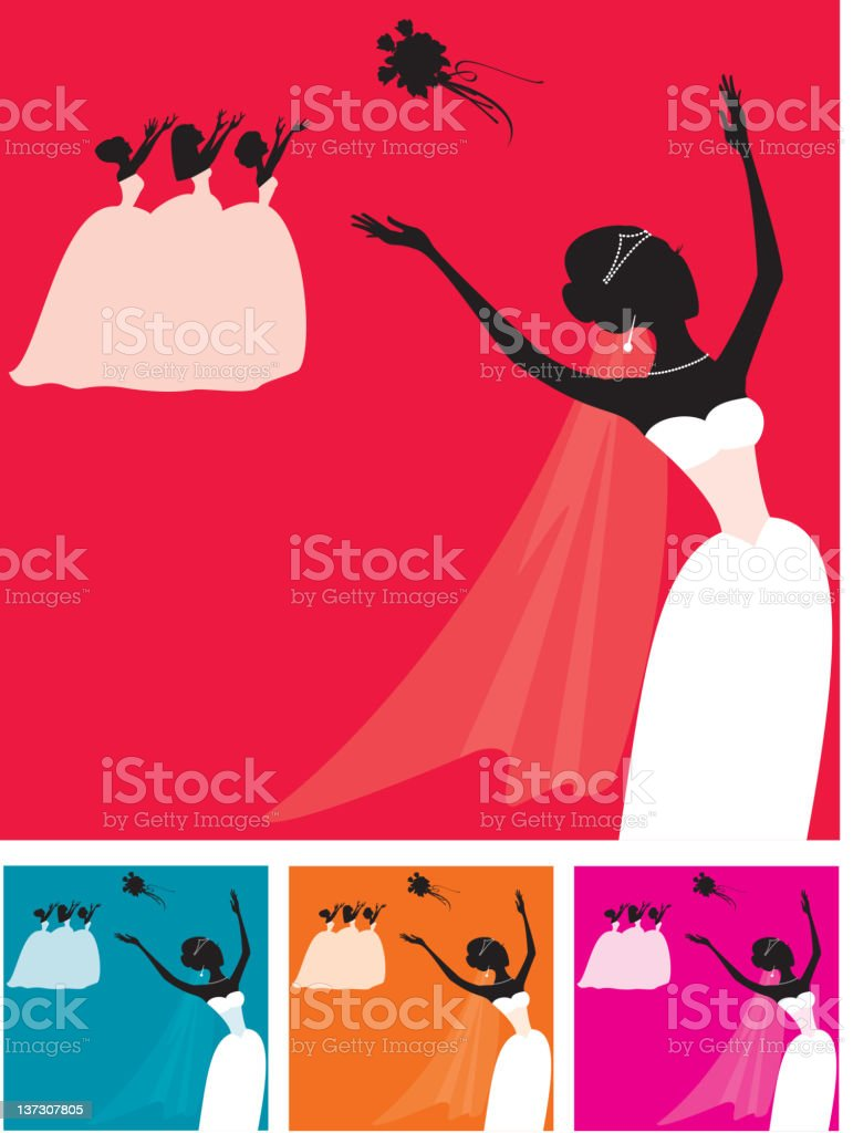 Bride Throwing Bouquet to Bridesmaids, Silhouette royalty-free stock vector art