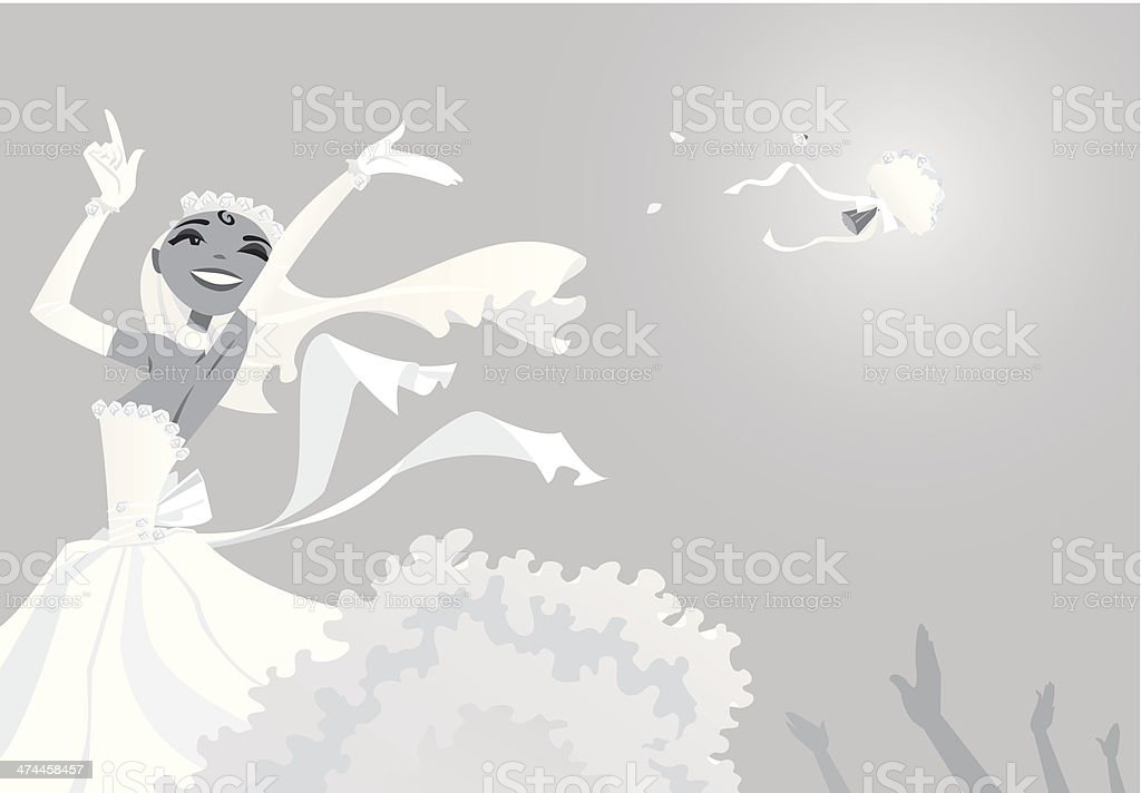 Bride Throwing Bouquet vector art illustration