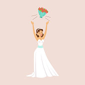 Bride Throwing Her Bridal Bouquet At The Wedding Party Scene. Cute Bride And Groom Couple In Classic Outfits Simple Vector Illustration On Pink Background.
