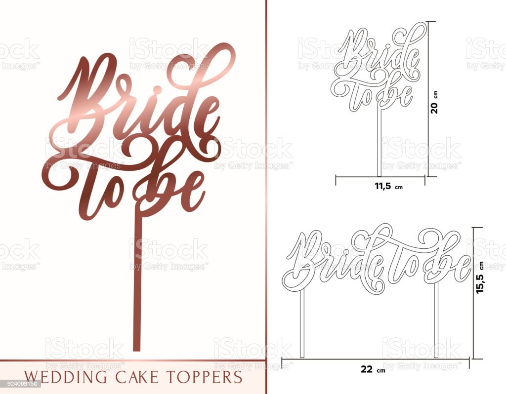 Noiva de ser topos de bolo para laser ou corte de trituração. Celebração de casamento ou aniversário rosa letras de ouro. - ilustração de arte em vetor