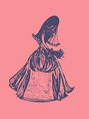 Bride. Hand-drawn graphic vector illustration in retro style.