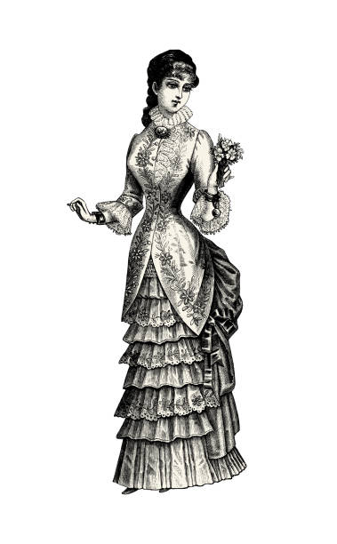 Bride victorian illustration Vintage etching EPS on white background 1900 stock illustrations