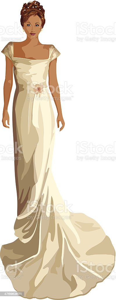 Bride Vintage Gown C vector art illustration