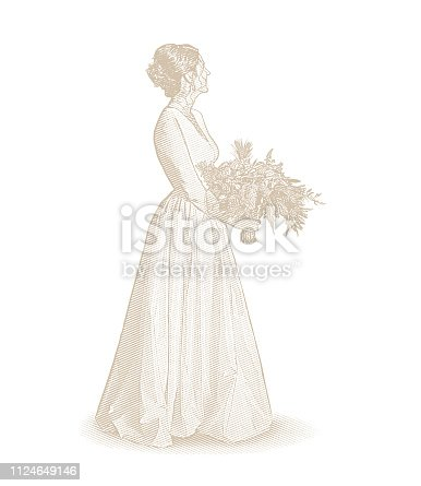 Engraving illustration of a Bride, wedding dress and bouquet