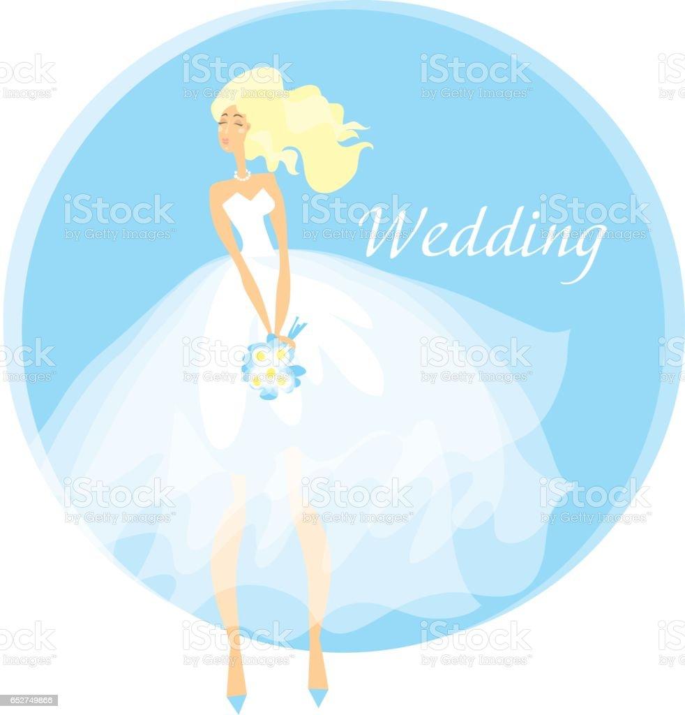 Bride Wedding Dress Concept Vector Illustration Spring Pastel Color ...