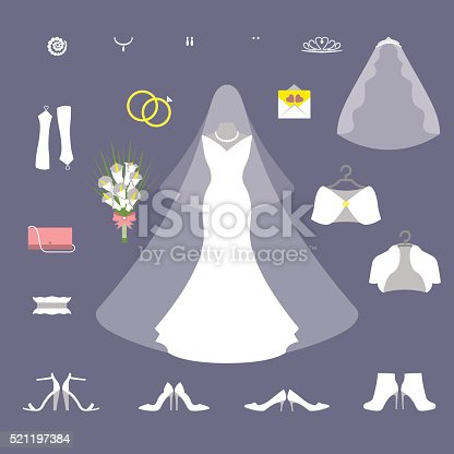 Bride wedding set vector illustration. Summer and winter collection.