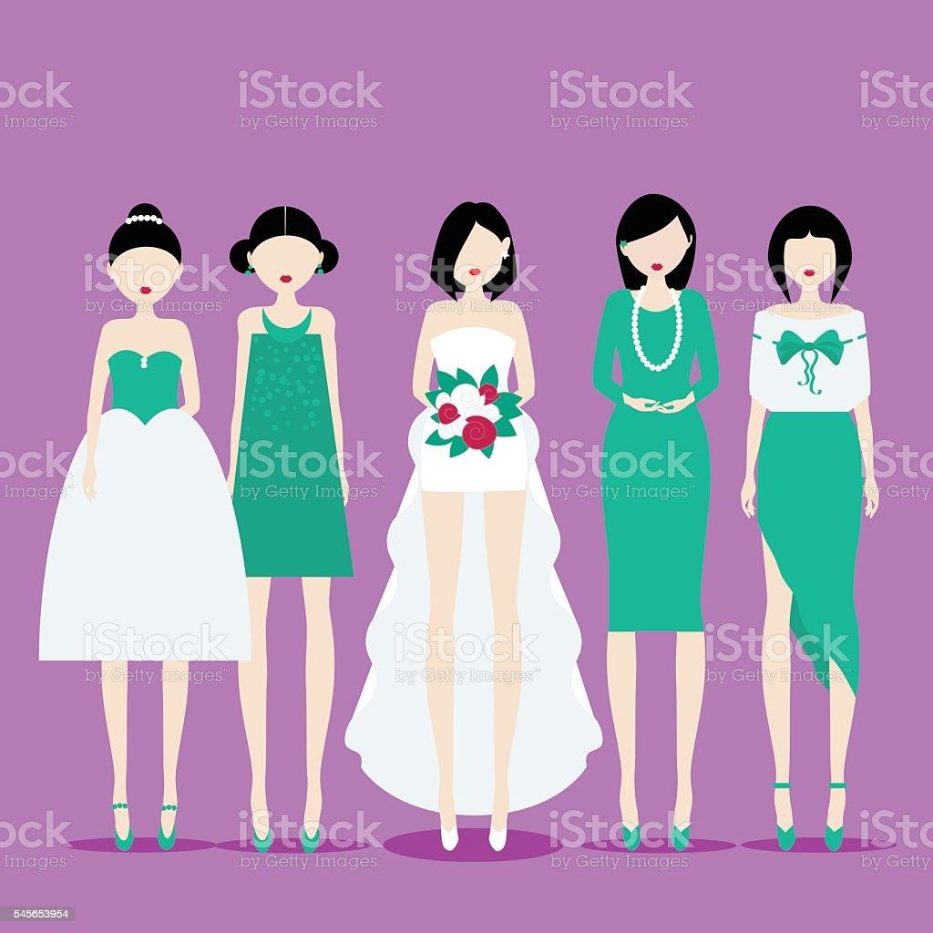 Bride with Bridesmaids vector art illustration