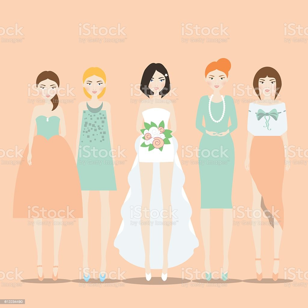 Bride with Bridesmaids vector illustration vector art illustration