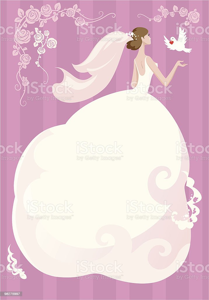 Bride with dove on pink background royalty-free stock vector art